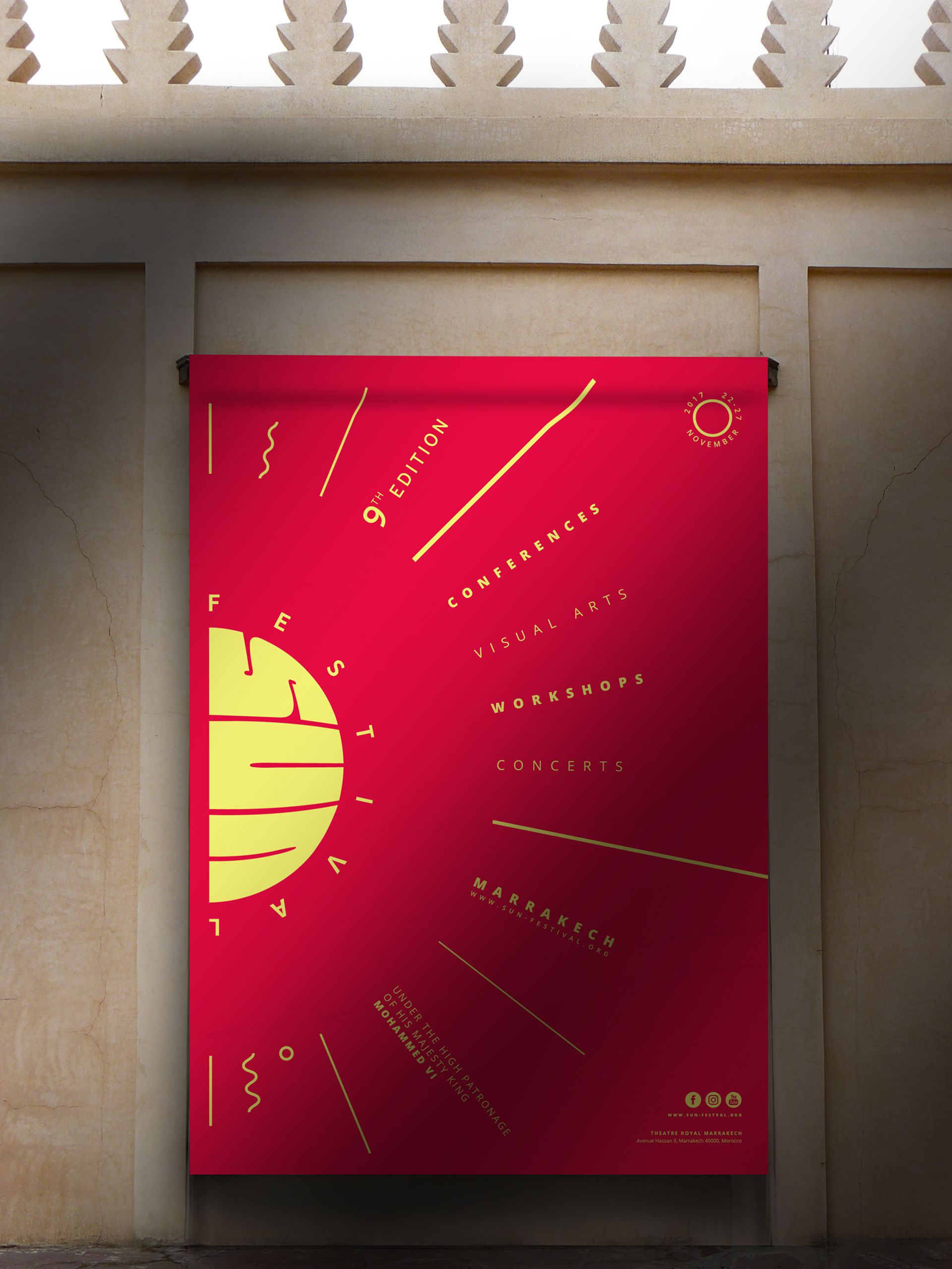 Sun Festival Flyer on Wall design